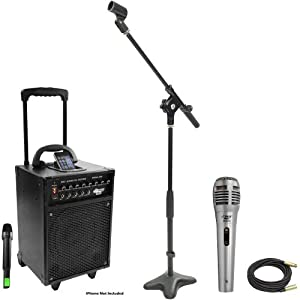 Pyle Speaker, Mic, Cable and Stand Package - PWMA930I 600 Watt VHF Wireless Portable PA Speaker System/Echo W/Ipod Dock - PDMIK1 Professional Moving Coil Dynamic Handheld Microphone - PMKS7 Compact Base Microphone Stand - PPMCL50 50ft. Symmetric Microphone Cable XLR Female to XLR Male