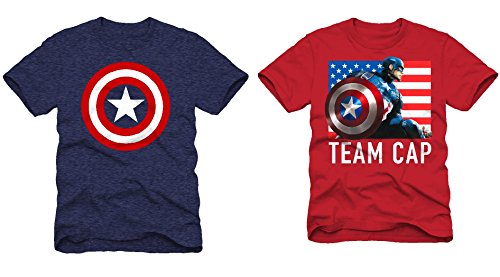 Superhero T- Shirts : Spiderman and Avengers (Pack of 2) (4, Captain America Flag T, Red, + Captain America Logo T, Navy) (Captain America T Shirt Toddler compare prices)