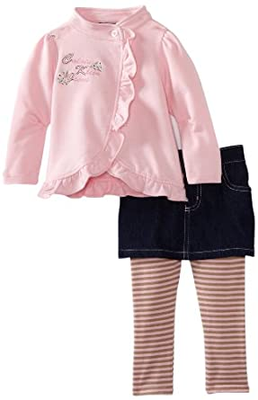 Calvin Klein Baby-girls Infant Jacket with Denim And Skeggings, Assorted, 18 Months