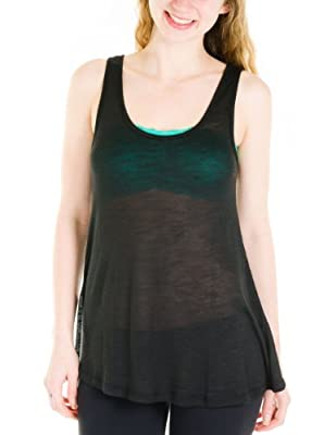 Basics Loose Fit Rayon Tank Top Juniors Cut