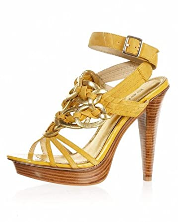 bebe.com Eliza Braided Leather Sandal :  spring yellow sexy heels