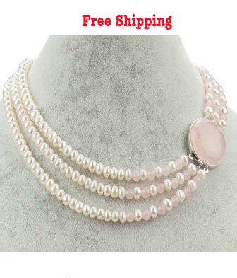 3 Strands Freshwater Pearl Necklace with a Natural Rose Quartz Clasp, 18