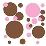 RoomMates RMK1245SCS Just Dots Pink and Brown Peel & Stick Wall Decals