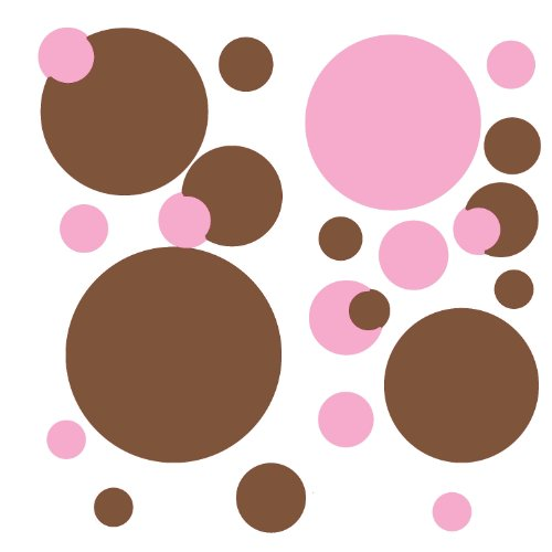 RoomMates RMK1245SCS Just Dots Pink and Brown Peel & Stick Wall Decals - 1