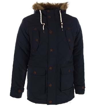 Brave Soul 'Cheltenham' Men's Fur Trimmed Hooded Quilted Parka Jacket Coat Navy Medium