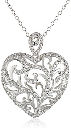 Sterling Silver Cubic Zirconia Freeform Heart Pendant Necklace, 18""