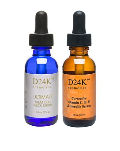 D'OR 24K Women's Ultimate Stem Cell Neck Serum & Corrective Vitamin C, B, E & Ferulic Serum Duo