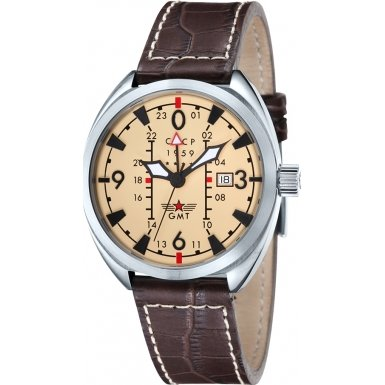 CCCP CP-7013-03 Mens Aviator Yak-15 Beige Brown Watch