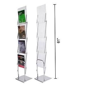 Folding Literature Stand Floor Magazine Rack 4 Pocket