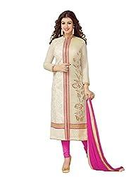 Dharmnandan Fashion Pink Chanderi& Cotton Dress material
