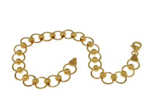 Silver 9ct Yellow Gold Plated Circle & Ball Link Bracelet 7.13cm