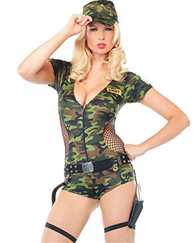 BeautyXTP Women Army Doll Military Camouflage Halloween Costume Romper Cosplay