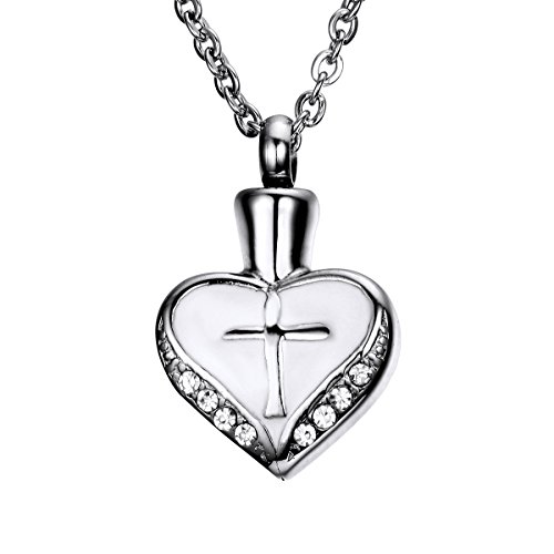 Cross Heart Cremation Urn Pendant Memorial Ash Keepsake Stainless Steel Cubic Zirconia Necklace (Cross Urn compare prices)