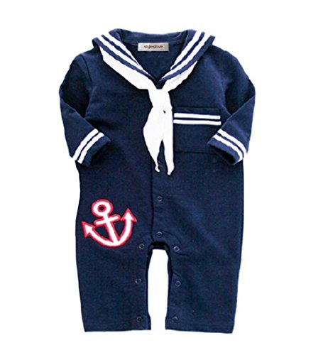 StylesILove Baby Boy Sailor Anchor Costume Jumpsuit (12-18 Months, Navy Blue)
