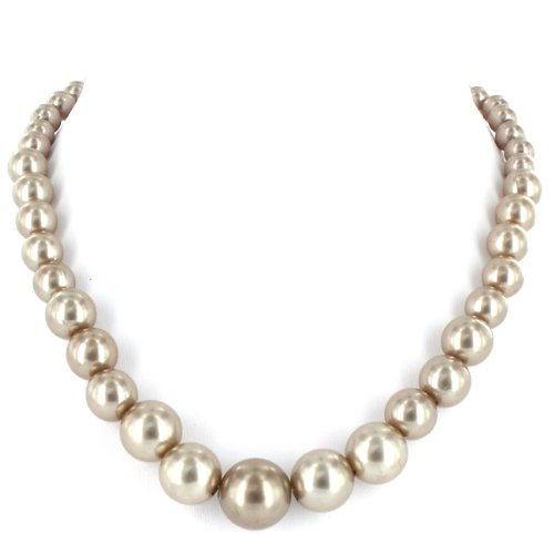 Silver Colored Pearl Graduated Necklace with Silver Colored Clasp and Extension