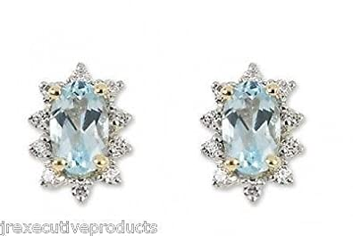 J R Jewellery 417942 9k Gold Blue Topaz & CZ Oval Cluster Earrings Made With Swarovski Zirconia