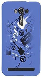 PrintVisa 3D-ZENFONE2LASER-D7876 Music Guitar Quotes Case Cover for Asus Zenfone 2 Laser ZE550KL