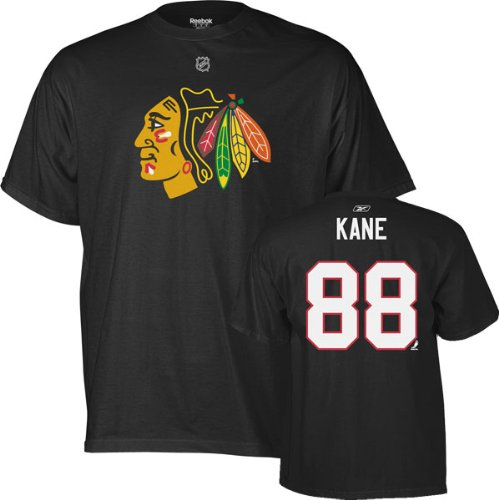 Patrick Kane Chicago Blackhawks Black Name and Number TShirt Picture