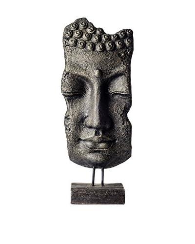 My Spirit Garden Volcanic Ash Buddha Mask on Stand, Antique Gold