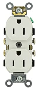 Leviton CR15-W 15-Amp, 125-Volt, Narrow Body Duplex Receptacle, Straight Blade, Commercial Grade, Self Grounding, Side Wired, White