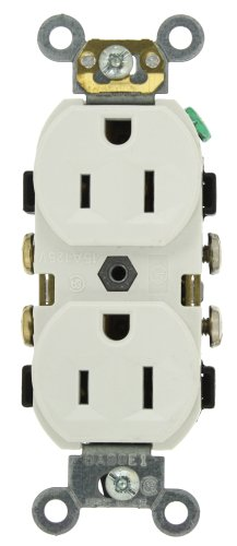 Leviton CR15-W 15-Amp, 125-Volt, Narrow Body Duplex Receptacle, Straight Blade, Commercial Grade, Self Grounding, Side Wired, White (Commercial Outlet compare prices)