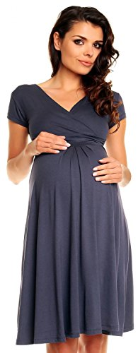 Zeta Ville - Damen - Umstandskleid - Kurzarm - Sommerkleid für Schwangere - 108c (Blau Grau, EU 40, L)