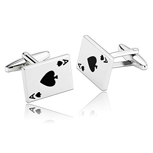 adisaer-gemelli-uomo-elegante-poker-cards-spades-ace-argento-nero-gemelli-acciaio-uomo