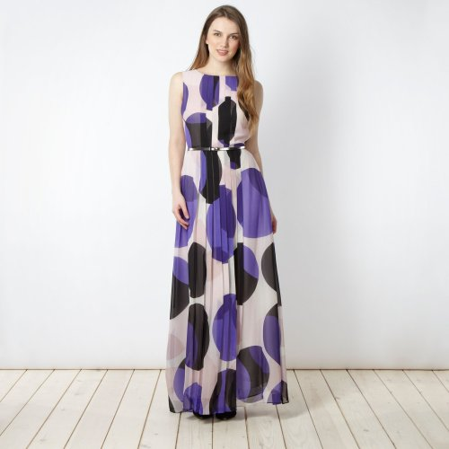 Jonathan Saunders/Edition Designer Purple Belted Spot Maxi Dress picture