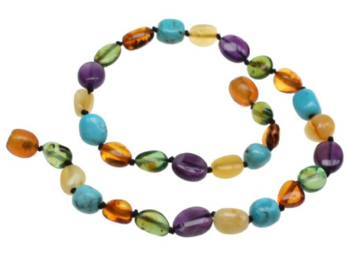 "Amberbeata Amber Teething Necklace for Baby ""River of Colors"" Butterscotch and Lemon Baltic Amber, Green Caribbean Amber, Natural Turquoise and Amethyst"