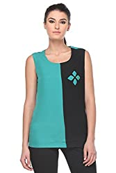 KAARYAH - Women Green Sleeveless Relaxed Fit Top