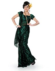 Designersareez Women Brasso Printed Teal Green Saree With Unstitched Blouse(775)