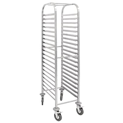 Vogue Stainless steel. Gastronorm Racking Trolley 1700(H) x 380(W) x 557(D)mm - 20 shelves.