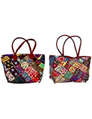 IndiWeaves Combo Offer Women's Multicolor Cotton Handbag (Combo Pack Of 2) - B01IVWILR2