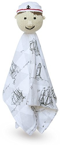 Finn + Emma Organic Cotton Baby Boy Rattle Lovie - Graysen the Navy Sailor - 1