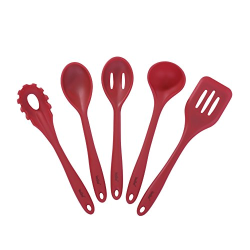 VonShef 5 Piece Heat Resistant Red Silicone Kitchen Cooking Utensil Set with Ladle, Turner, Spoon, Spaghetti Server & Slotted Spoon (Red Kitchen Utensils compare prices)