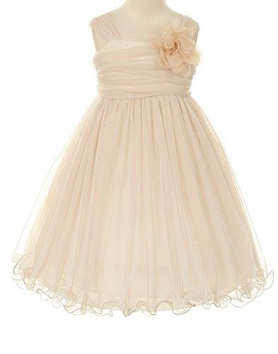 Special Occasion Flower Girl Double Layer Mesh Dress - Champagne And Ivory - 6 front-890055