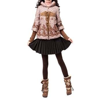 Artka Women's Vintage Floral Crochet Lace Plump Collar Quilted Jacket,Beige,L
