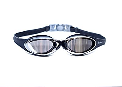 # 1 Rated Swim Goggles On Amazon UK - Anti Fog - Comfort Fit - Watertight - Clear Vision - Lifetime Guarantee - Anti Shatter Lenses Mirrored With 100% UV Protection! Easily Adjustable Straps With Quick Release Technology For Tangle Free Hair! Swimming Gog