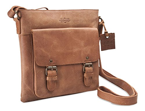 Brunhide Waxed Genuine Buffalo Leather Womens Shoulder Satchel Bag # 152-300 - satchels