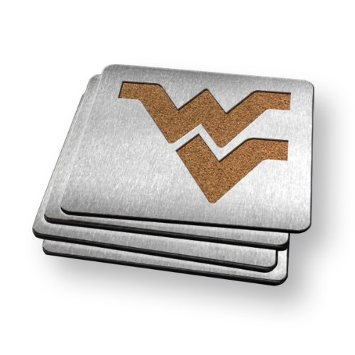 NCAA West Virginia Mountaineers Boasters, Heavy Duty Stainless Steel Coasters, Set of 4