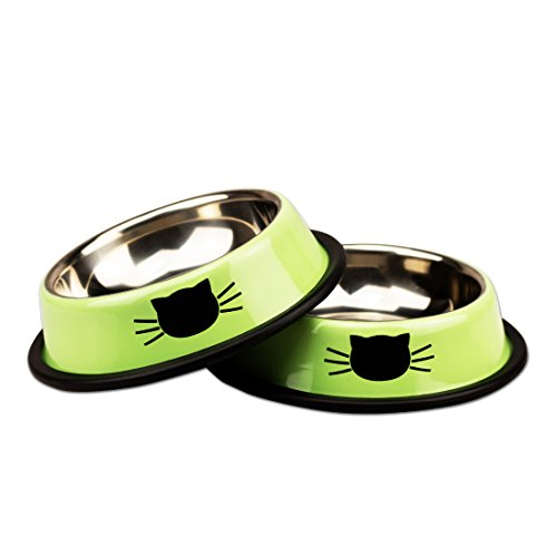 Petfamily-Stainless-Steel-Cat-Bowl-Heavy-Duty-Dog-or-Cat-Dish-for-Small-Dogs-Cats-Painted-with-Non-Skid-Rubber-Bottom-Pet-Food-Water-Bowl-8-Ounce-Set-of-2
