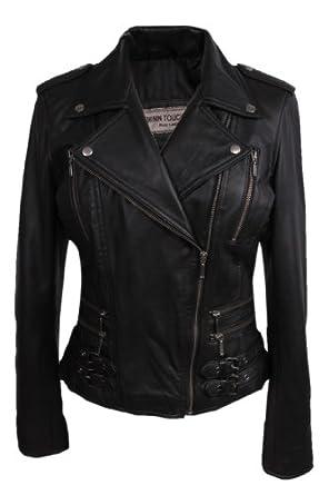 Ladies Womens 100% Real Leather Biker Jacket Black Fitted Bikers Style Vintage Rock (XS)