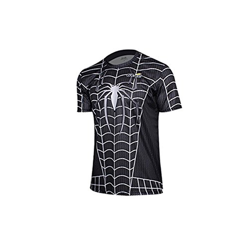 Afoxsos Men's Short Sleeves Crewneck Spider Man Super Man T-Shirt