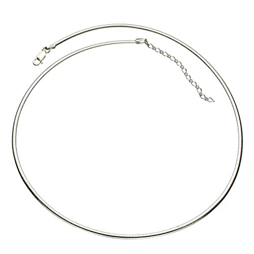 Sterling Silver 2mm Flat Oval Domed Omega Chain Necklace Italy 16