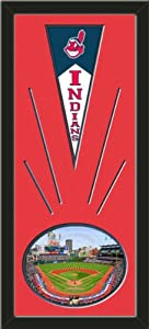 Cleveland Indians Wool Felt Mini Pennant & Progressive Field Photo - Framed With... by Art and More, Davenport, IA