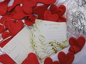 """Ballonflugkarten-Set: Herzballons rot, Verschlüsse, Flugkarten """"Alles Liebe & Gute zur Hochzeit"""", für 100 St."""