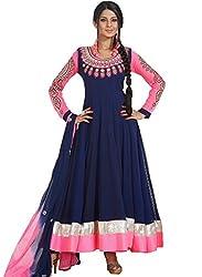 Orange Fab Blue Resham Georgette Designer Full Sleeve Anarkali Salwar Suit Dress Material