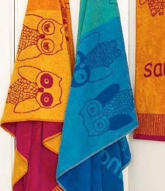 """Hochwertiges Saunatuch """"Eule"""" XXL 85x200 cm in Orange oder Blau , 100% Baumwolle - Strandtuch, Badetuch (Blau)"""