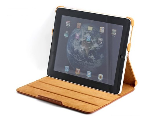 AYL (TM) Slim Genuine Leather Case Folio with 4-in-1 built-in Stand for Apple Ipad Tablet (Brown)