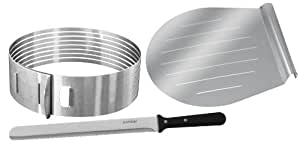 "Zenker Stainless Steel Layer Cake Slicing Kit with 12"" Serrated Knife, 3-Piece"